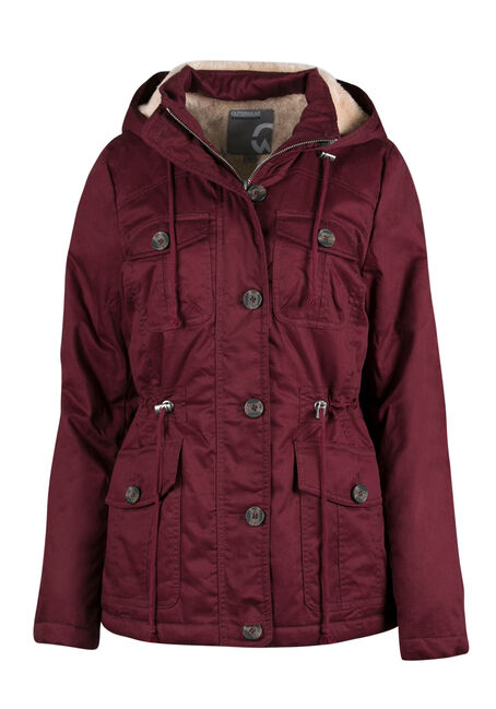 Ladies' Hooded Anorak Jacket, BURGUNDY, hi-res