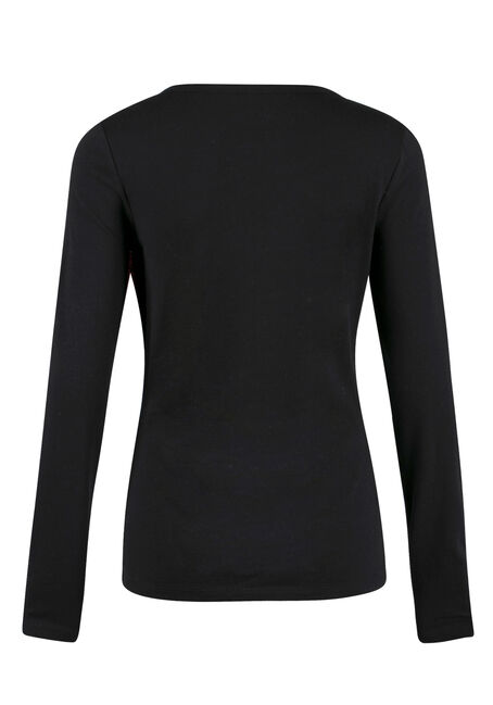 Ladies' Crew Neck Tee, BLACK, hi-res