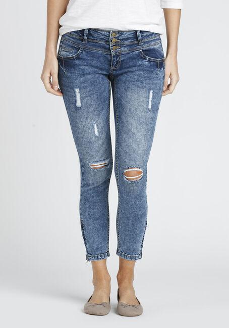 Ladies' Ankle Zip Destroyed Skinny Jean