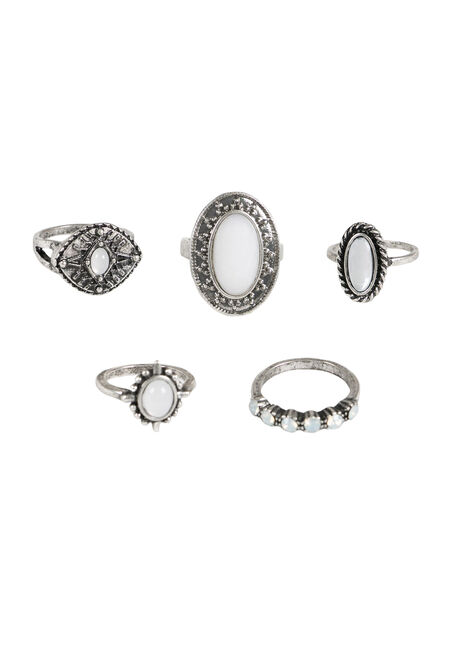 Ladies' 5 Pair Ring Set, SILVER, hi-res