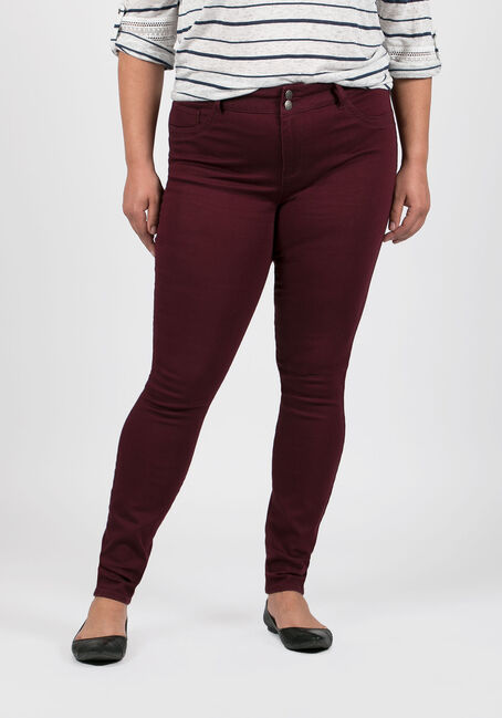 Ladies' Plus Size Skinny Pants, BURGUNDY, hi-res