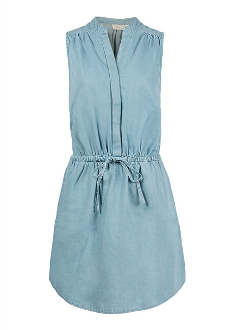 Ladies' Denim Shirt Dress, SOFT BLUE, hi-res