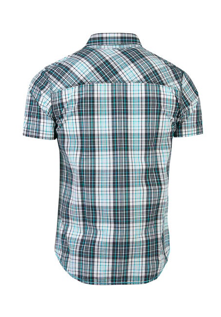 Men's Relaxed Fit Plaid Shirt, AQUA, hi-res