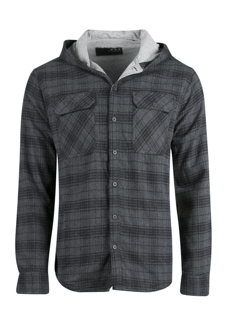 Men's Lined Flannel Hoodie, CHARCOAL, hi-res