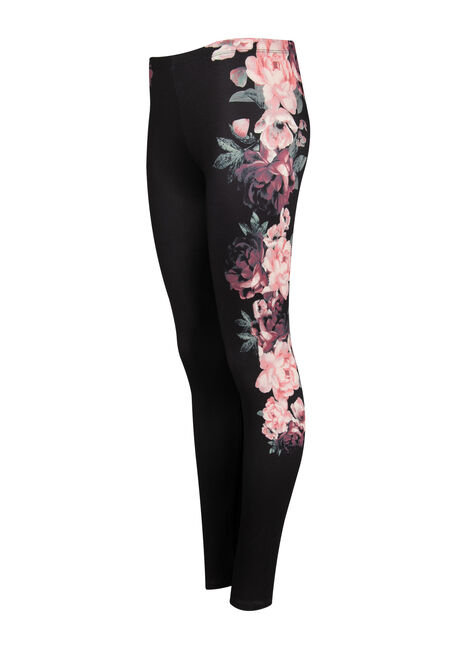 Ladies' Floral Print Legging, BLACK, hi-res