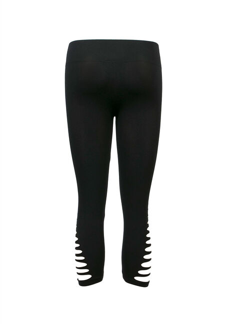 Ladies' Cutout Capri Legging, BLACK, hi-res