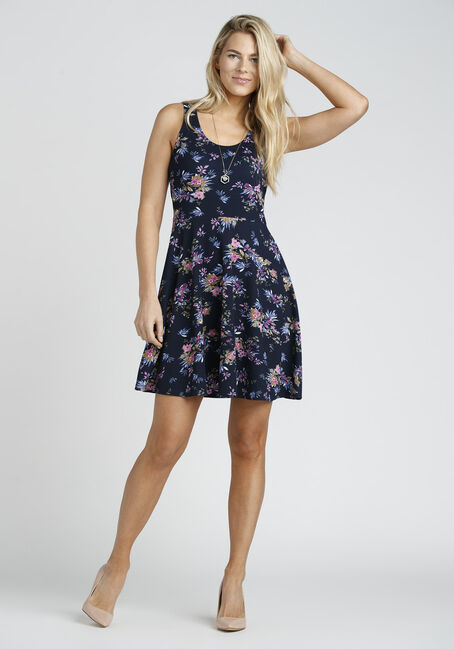 Ladies' Floral Fit & Flair Dress, NAVY FLORAL, hi-res