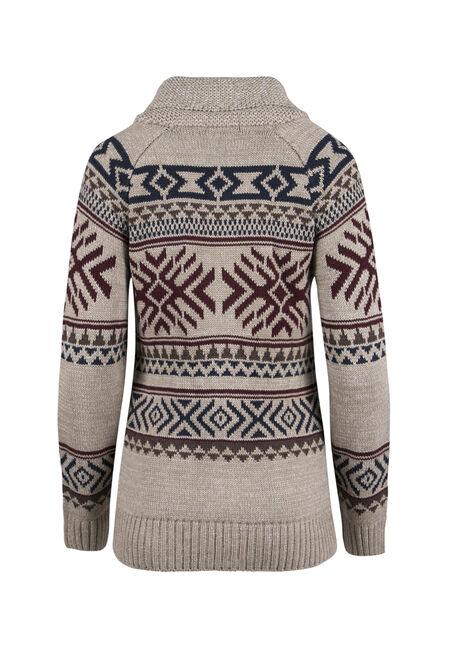 Ladies' Nordic Zip Cardigan, OATMEAL, hi-res