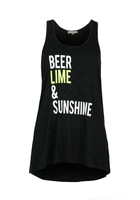 Ladies' Beer, Lime & Sunshine Tank, BLACK, hi-res