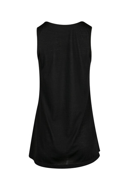 Ladies' Cage Neck Tunic Tank, BLACK, hi-res