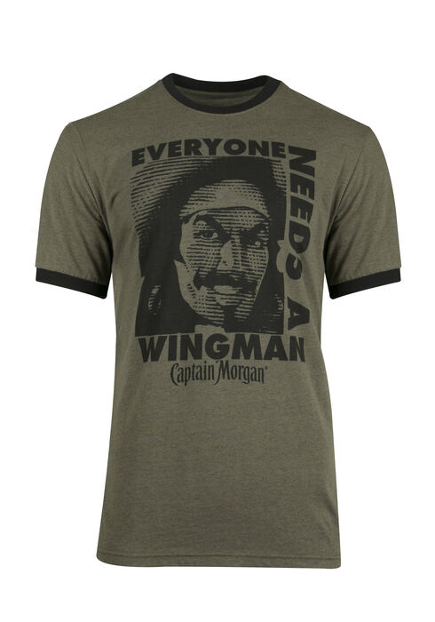 Men's Captain Morgan Ringer Tee, DARK OLIVE, hi-res