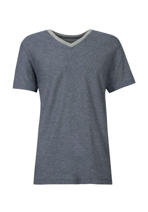 Men's Mini Stripe V-Neck Tee, NAVY, hi-res