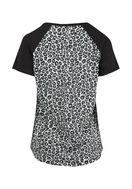 Ladies' Leopard Print Baseball Tee, BLACK, hi-res