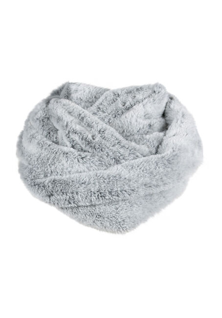 Ladies' Faux Fur Infinity Scarf, GREY, hi-res