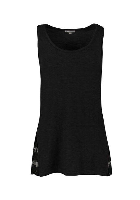 Ladies' Lace Insert Tank, BLACK, hi-res