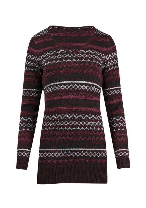 Ladies' Lurex Nordic Sweater, WINE/ ROSE, hi-res