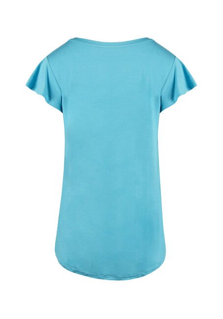 Ladies' Flutter Sleeve Tee, AQUA, hi-res