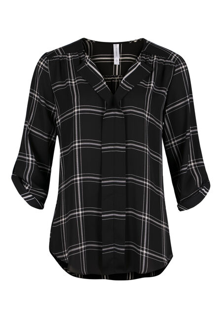 Ladies' Windowpane Pleat Front Top, BLACK, hi-res