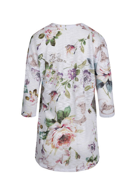 Ladies' Floral Print Cardigan, WHITE COMBO, hi-res