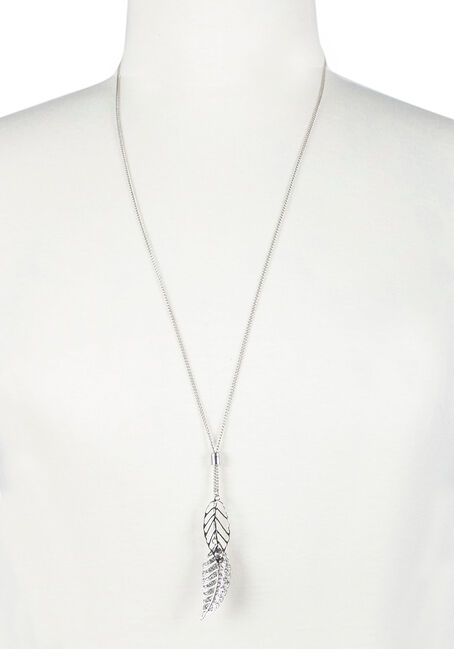 Ladies' Lariat Necklace, RHODIUM, hi-res
