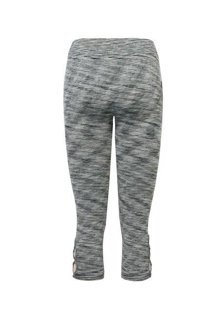 Ladies' Lattice Seamless Capri Legging, BLK/WHT, hi-res