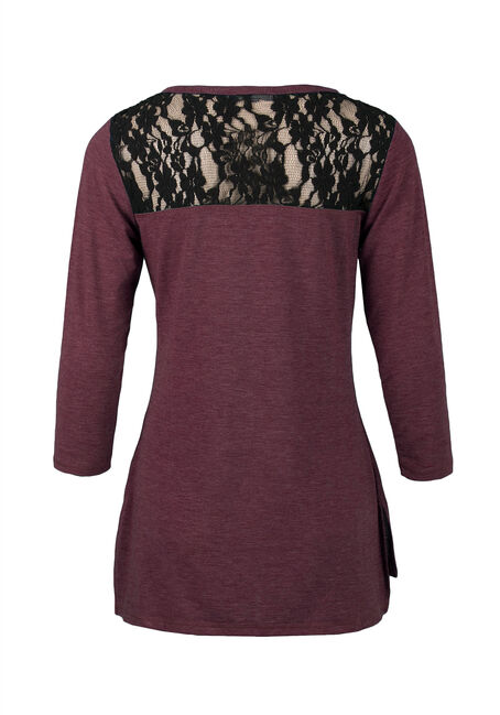 Ladies' Lace Insert Tee, WINE/BLACK, hi-res