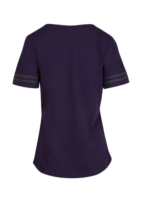Ladies' Cage Neck Football Tee, GRAPE, hi-res