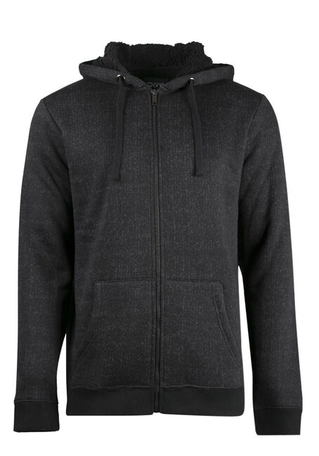 Men's Faux Fur Lined Hoodie, CHARCOAL, hi-res