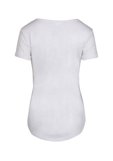 Ladies' Lace Yoke Tee, WHITE, hi-res