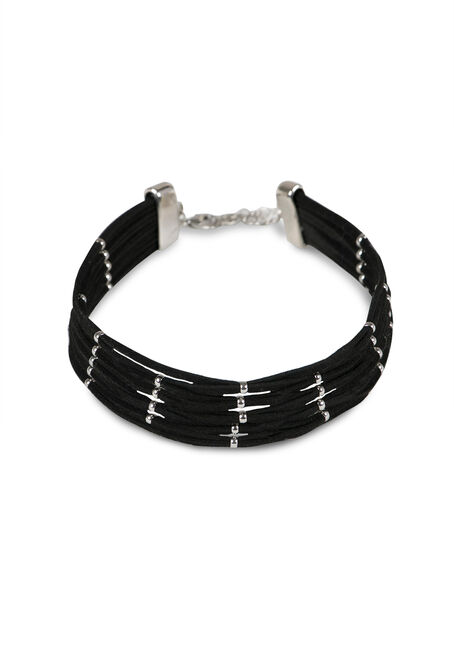 Ladies' Multi Row Choker, BLACK, hi-res