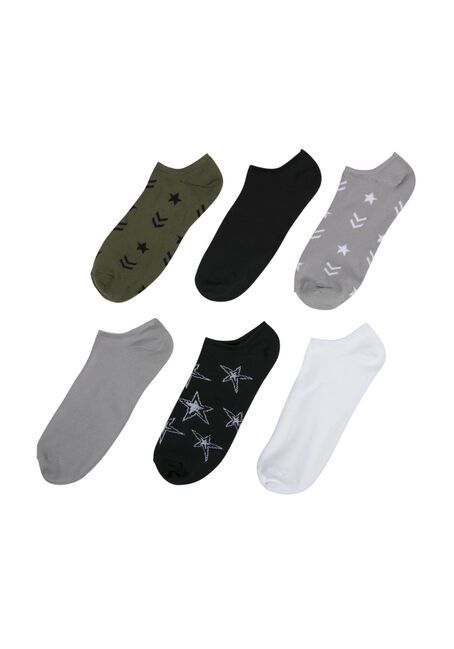 Ladies' 6 Pair Military Inspired Socks, DARK OLIVE, hi-res