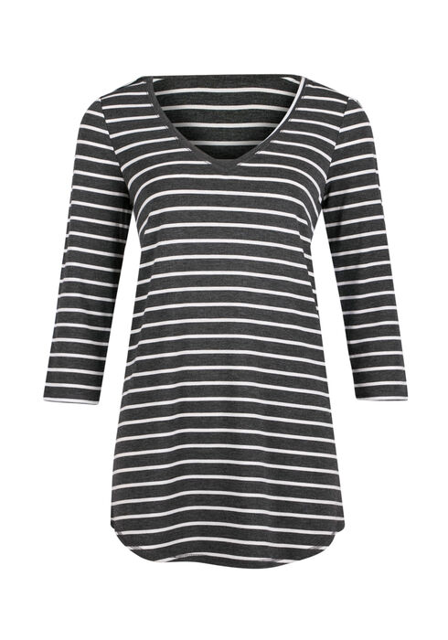 Ladies' Stripe Tunic Tee, CHARCOAL/ BLACK, hi-res