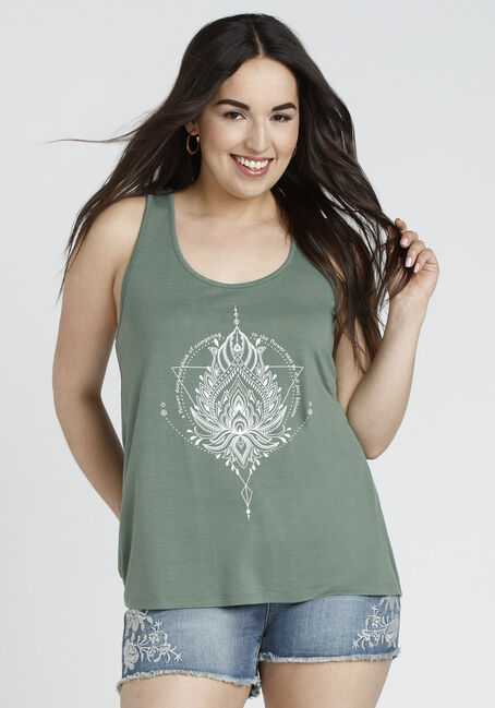 Ladies' Lotus Mandala Tank, OLIVE, hi-res