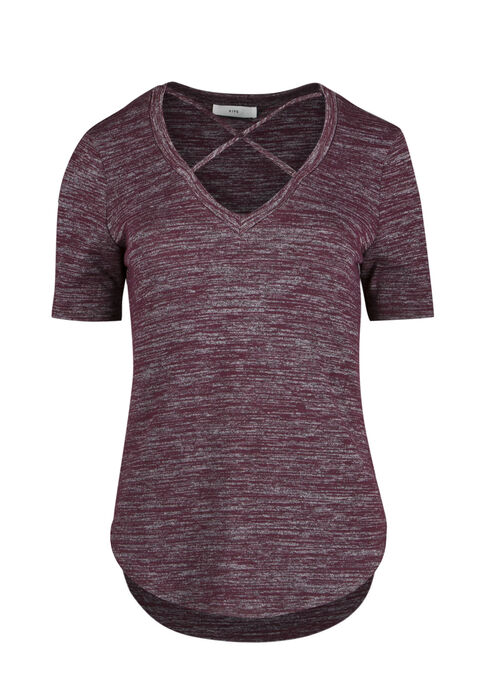 Ladies' Cross Neck Top, BURGUNDY, hi-res