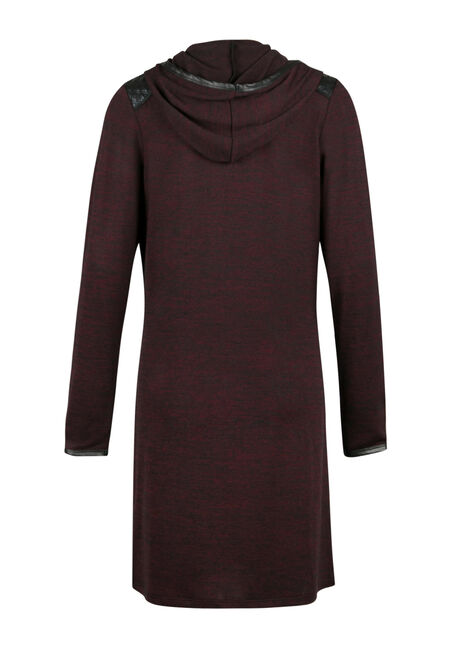 Ladies' Hooded Duster, WINE/BLACK, hi-res