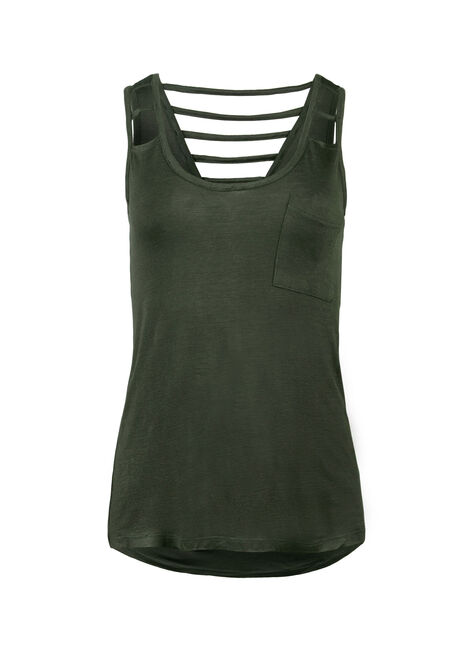 Ladies' Cut Out Tank, HUNTER GREEN, hi-res
