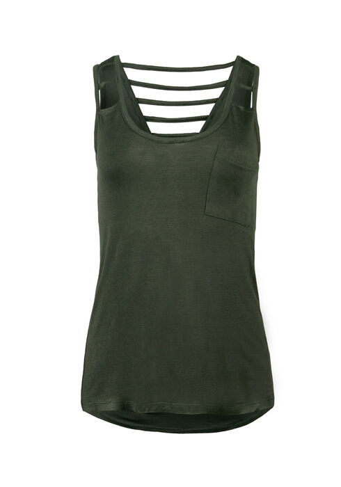 Ladies' Plus Size Cut Out Tank, HUNTER GREEN, hi-res