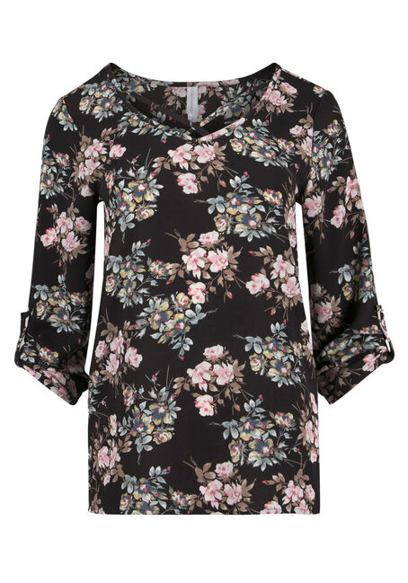 Ladies' Floral Cage Neck Top