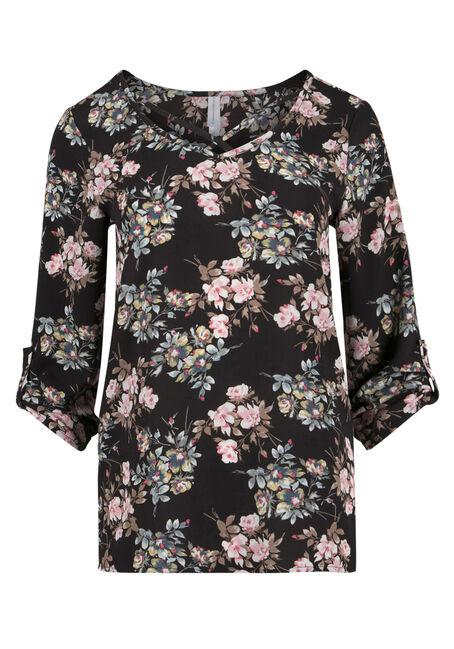 Ladies' Floral Cage Neck Top