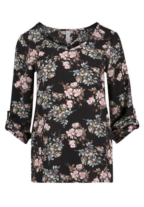 Ladies' Floral Cage Neck Top, BLACK, hi-res