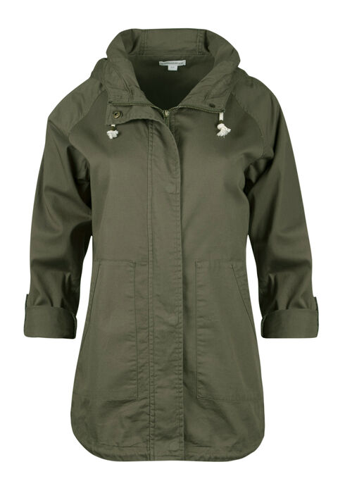 Ladies' Roll Sleeve Anorak Jacket, OLIVE, hi-res