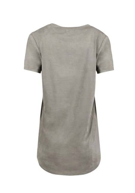 Ladies' Faux Suede Hi-Low Tee, LIGHT OLIVE, hi-res