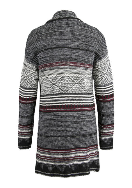 Ladies' Stripe Open Cardigan, CHARCOAL, hi-res