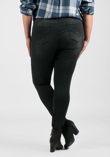 Ladies' Plus Size Skinny Jeans, BLACK, hi-res