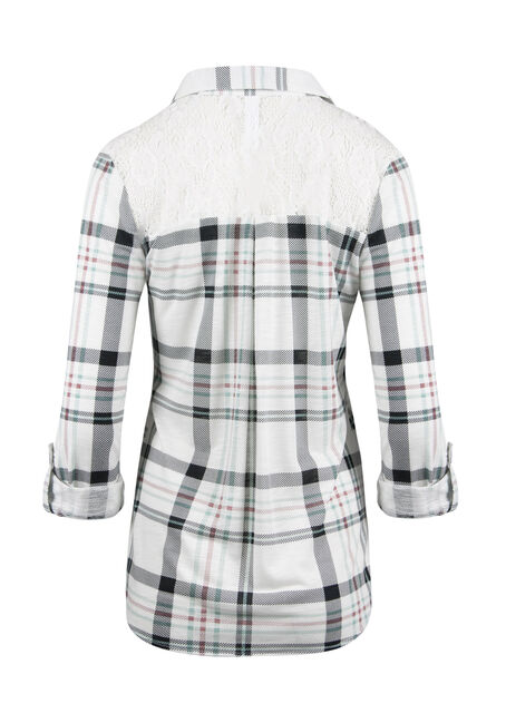 Ladies' Lace Trim Knit Plaid Shirt, MEADOW GREEN/IVORY, hi-res