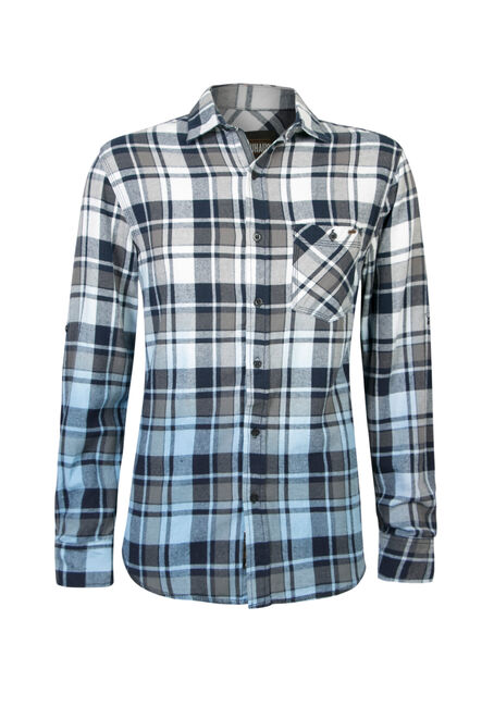Men's Dip Dye Flannel Shirt, BLUE, hi-res