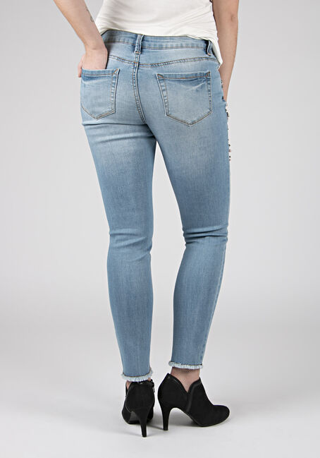 Ladies' Embellished Skinny Jeans, DENIM, hi-res