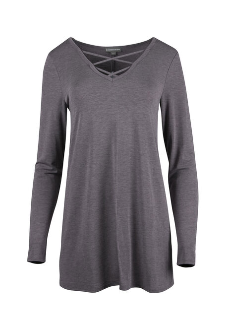 Ladies' Cage Neck Tunic Tee, SHADOW PURPLE, hi-res