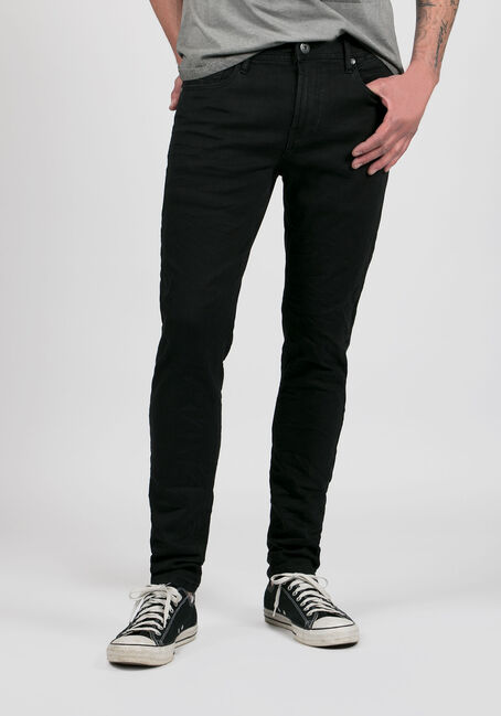 Men's Skinny Taper Jeans, BLACK, hi-res