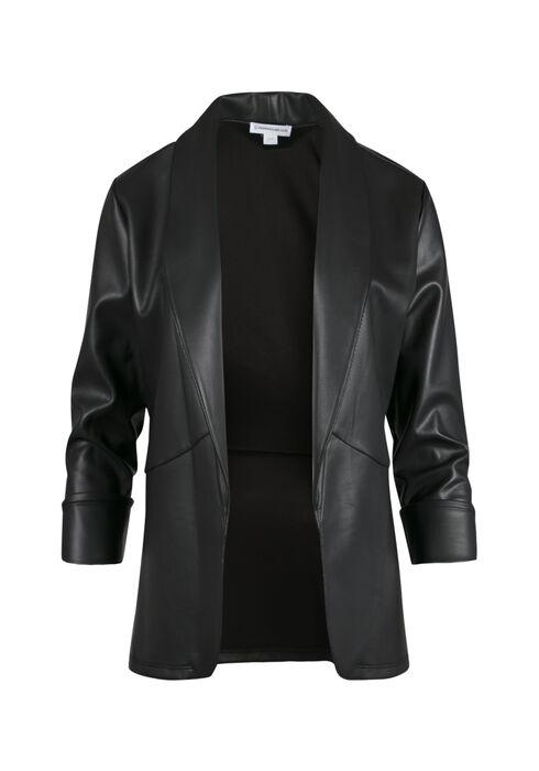 Ladies' Faux Leather Open Blazer, BLACK, hi-res